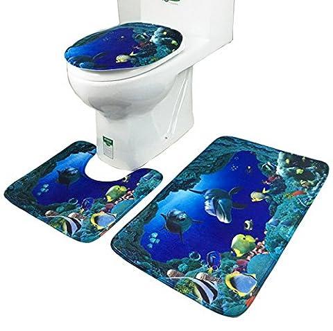 Bleu Ocean Dolphin Shark Bathroom Mat 3 Pcs Salle de