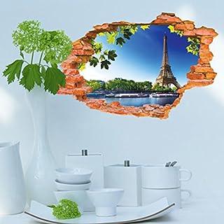 3D- Selbstklebende Abnehmbaren Durchbrechen Die Mauer Vinyl Wandsticker / Wandgemälde Kunst Aufkleber Dekorateur (8001E Ethel Tower (60*90cm))