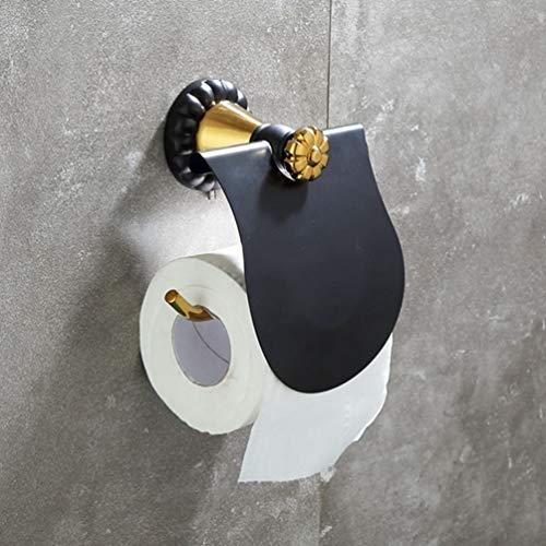 LUDSUY Todo-Cobre Toalla Toallero Estante Negro Y Viejo De Metal Oro Pendiente De Jade Antigua Portarrollos De Papel Higiénico Plataforma Continental, C