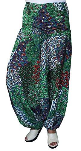 Maple Clothing Womens Smocked Taille Hippie Moss Crepe-Harem-Hosen (Grün)