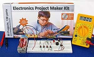Deepak Enterprise Electronics Project and Circuits Maker Kit with Spares, Multimeter Ebook (Multicolour)