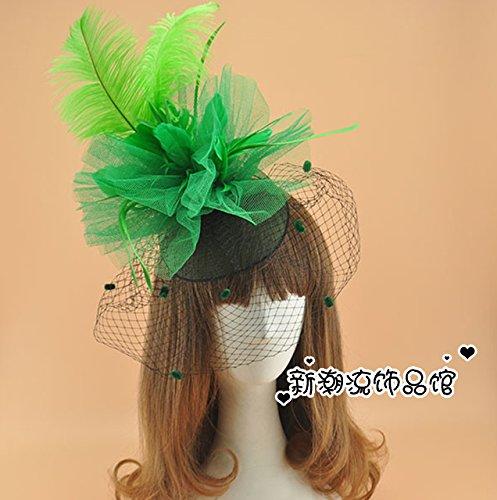 GTVERNH-Eine Übertreibung Feather Friese Bridal Bühnenauftritte und die Bettwäsche und die Schleier der Schmuck Haarnadeln der Karte grün (Koreanisch Mädchen Bettwäsche)