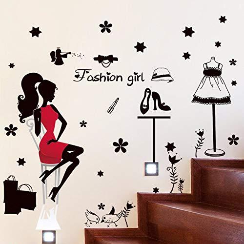 Kuamai Stilvolle Schwarze Rote Frauen Mode Wandaufkleber Schlafzimmer Dekor Kleid Schuhe Shopping Poster Shop Schaufenster Selbstklebende Abziehbilder