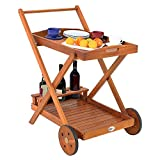 Deuba Casaria Wooden Serving Trolley Kitchen Acacia Wood Removable Tray Drink Food Wheels 2 Tier Storage Cart Tea Wagon