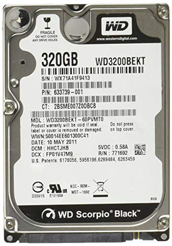 Western Digital WD3200BEKT Black 320GB interne Festplatte (6,4 cm (2,5 Zoll), 7200rpm, 16MB Cache, SATA) (Laptop 320 Digital Western)