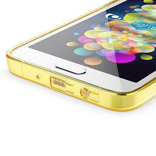 Samsung Galaxy A5 2015 Hülle Handyhülle von NICA, Durchsichtiges Slim Silikon Case Transparente Rückseite & Bumper, Crystal Schutzhülle Etui Dünn, Handy-Tasche Back-Cover - Transparent Transparent/Gelb