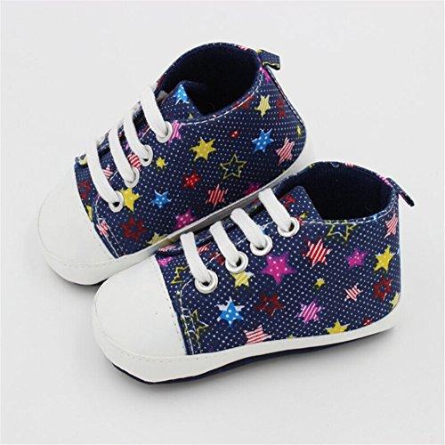 Baby Kinder Schuhe Weiche Rutschfester Sohle Segeltuch-Turnschuh Junge Mädchen Krabbelschuhe Marineblau