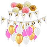 HusDow Birthday Party Decorations Pack, Happy Birthday Banner with Tissue Pom Poms and 30pcs Birthday Balloons