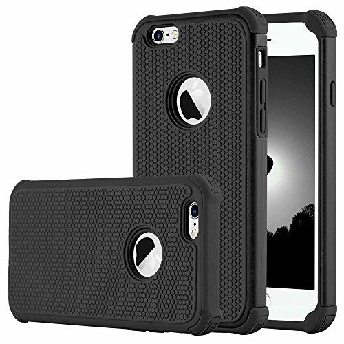 iPhone 7 Plus Cases, Case Cover duplice ibrido per iPhone 7 Plus 5,5 Plus pollici. Cover duro per iPhone 7 Plus PC+ Silicone ibrido impatto grande Difensore custodia Combo duro morbido Cases Covers,Ne Nero-iPhone 6/6S