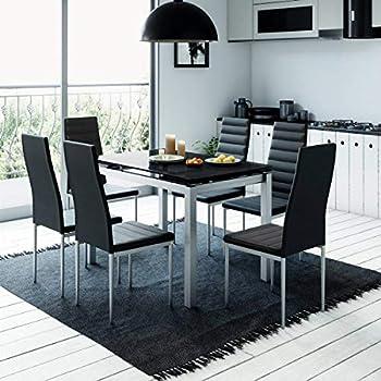 vidaXL pièces Ensemble de à Table chaises dîner Sept Noir et 5jq34ARL