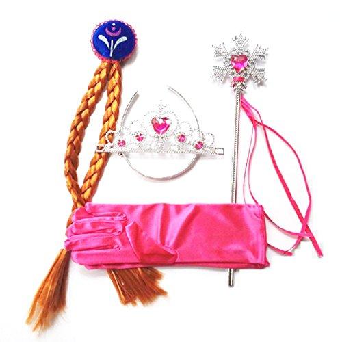 te Set Ersparnisse 4 Zubehör für Karnevalskostüm Frozen Anna - Geflecht Zauberstab Krone und Handschuhe (Gefrorene Halloween-kostüme Für Erwachsene)