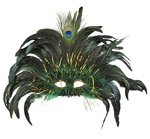 Peacock Kostüm Schwarz - Boland 00265 Augenmaske Peacock Queen, Grün/Schwarz