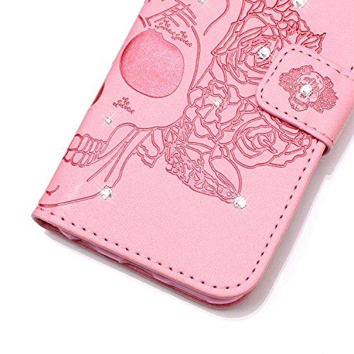 Custodia per iPhone 6/6S Plus ,SKYXD Cover Libro Portafoglio in Pelle + TPU Gel Antiurto 360 Full Body Protezione Completa Retro Flip Coperture Case per Apple iPhone 6S/6 Plus,3D Colorata Glitter Blin Rosa Cranio