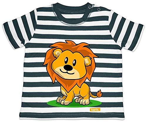 HARIZ Baby T-Shirt Streifen Süßer Löwe Süß Tiere Dschungel Plus Geschenkkarten Navy Blau/Washed Weiß 18-24 Monate (18 Monate Alte Löwe Kostüm)