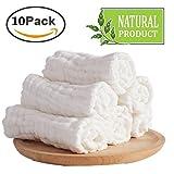 Baby weiße Wäsche Tücher-natürliche Bio-Baumwolle Baby-Feuchttücher - weiche neugeborenes Baby Handtuch und Musselin Waschlappen für empfindliche Haut, 10 Stück 25,4 x 25,4 cm von Mulinn