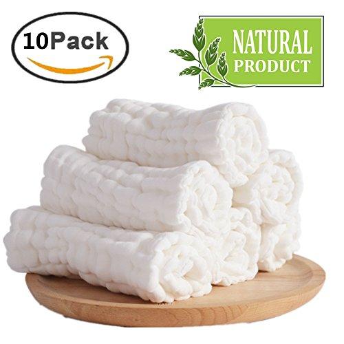 Baby weiße Wäsche Tücher-natürliche Bio-Baumwolle Baby-Feuchttücher - weiche neugeborenes Baby Handtuch und Musselin Waschlappen für empfindliche Haut, 10 Stück 25,4 x 25,4 cm von Mulinn (Natürlich Baumwolle Naturals)