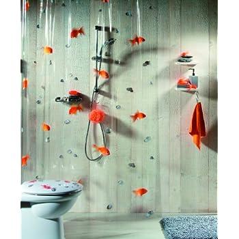 Spirella Goldfish Orange Plastic Shower Curtain 100% PVC