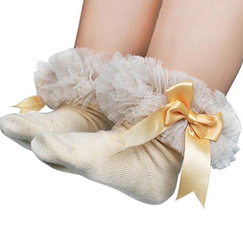 Socken Longra Baby Kinder Mädchen Prinzessin Bowknot Socke Spitze Rüsche Frilly Trim Knöchelsocken(0 -6Jahre) (11.5cm/0-2Jahre, Yellow) (Trim Crochet Tunika)
