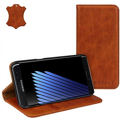 ROYALZ Book Cover für Samsung Galaxy Note 7 Lederhülle ( N930 / N930F ) Ledertasche Case Hülle Tasche Schutztasche Schutzhülle Etui Wallet Handyhülle mit unsichtbarem Magnet Standfunktion Kartenfach Vintage Leder braun