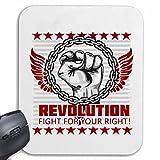 """Mousepad (Mauspad) """"REVOLUTION FIGHT FOR YOUR RIGHT STREETFIGHT FIGHT CLUB SELBSTVERTEIDIGUNG PEOPLE MENSCHEN FRIEDEN FREIHEIT """" für ihren Laptop, Notebook oder Internet PC .. (mit Windows Linux usw.) in Weiß"""