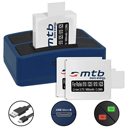 3 Akkus + Dual-Ladegerät (USB) für Rollei Actioncam AC 625, 610, 525, 510, 372 - inkl. Micro-USB-Kabel