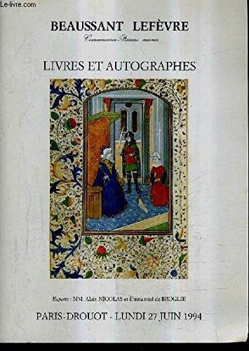 CATALOGUE DE VENTES AUX ENCHERES - TIMBRES ESTAMPES AUTOGRAPHES LIVRES - DROUOT RICHELIEU SALLE 3 - 27 JUIN 1994.