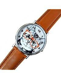 Reloj de mujer con gato y gafas, Idea regalo pulsera blanco rosa marrón