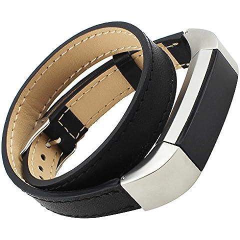 For Fitbit Alta ,Transer® Double Tour de reloj de cuero genuino Correa de la banda de pulsera para Fitbit alta