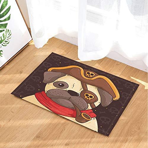 HTSJYJYT Alfombras Dibujos Animados Divertido Pirata Capitán Shar Pei Dog Skull Cor...