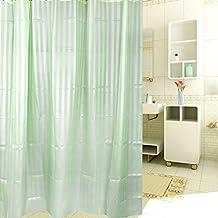 Geométrico tela cortina de ducha, romántico Multi vertical rayas, poliéster, Verde, 72x80 inch