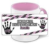 Büro-Tasse mit Namen Jasmin und schönem Motiv - Nr. 4 - Finger weg , diese Tasse gehört ... , Farbe: rosa