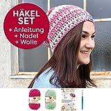 myboshi Mützen Häkelset Beanie aus leichter Wolle (85% Baumwolle 15% Kapok) Anleitung + Häkelgarn + Häkelnadel + Label Farben minze, magenta