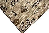 Teppich Modern Flachgewebe Gel Läufer Küchenteppich Küchenläufer Braun Beige Schwarz mit Schriftzug Coffee Cappuccino Espresso Latte Größe 80 x 300 cm - 2