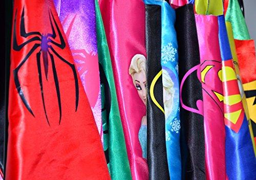 Imagen de wonder woman + spider girl + batgirl + super girl juego 4unidades + 4pegatinas. kim y máscara–disfraces para niños de superhéroes cape y máscara–juguete verk sufren & disfraces niña fasching o temática de fiestas. mungo–king–kmsc035