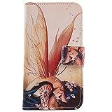 Lankashi PU Flip Leder Tasche Hülle Case Cover Handytasche Schutzhülle Etui Skin Für Alcatel One Touch Pop C5 Ot-5036d Wing Girl Design