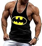 A. M. Sport Camisa Camiseta Hombre Tirantes Culturismo Fitness Deportiva. Ropa Deporte Masculina para Entrenar Gym (Batman Negra) - XL