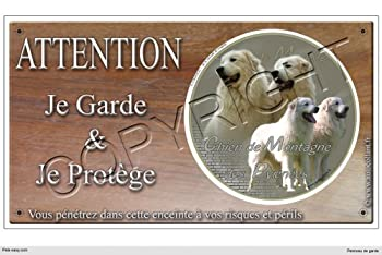 Panneau chien ou plaque Montagne-des-pyrenee 30 cm