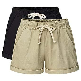 Women's Drawstring Elastic Waist Casual Comfy Cotton Linen Beach Shorts 2 Pack Black Khaki Tag M-UK 4