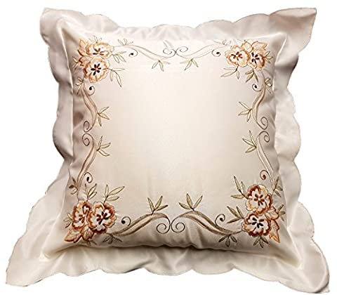 Pack of 2 Cushion Covers, Lucy, Faux Silk Embroidered Flowers Leaves, Scalloped Border Edge, Off White Cream Yellow Mint Green, 43cm x