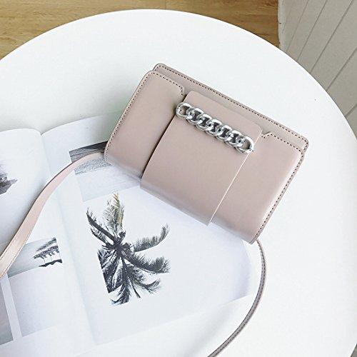 Weibliche Ketten Kleine Quadratisches Paket Mode Schulter Messenger Tasche Einfaches Paket Khaki
