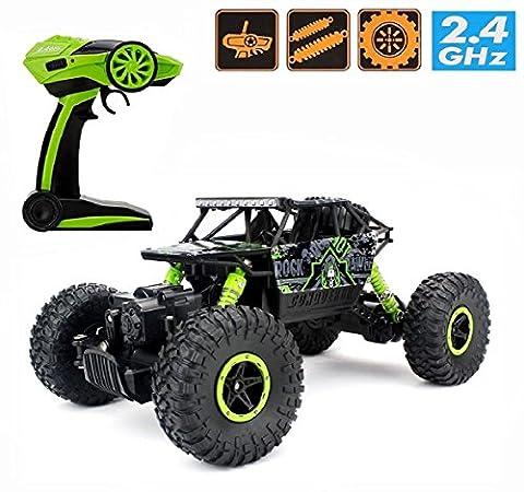 RC voiture Climb roche, hors route du véhicule 1/18 4 roues motrices Vitesse rapide Course Crawler voiture Dune Buggy télécommande Monster Truck 2.4Ghz rechargeable Hobby Toy voiture (vert)