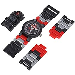 LEGO Star Wars Darth Maul (hood) Minifigure Children's Quartz Watch with Black Dial Analogue Display and Multicolour Plastic Link Strap 9004315