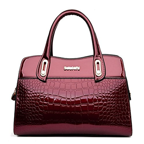 SANSJI Damen Patent Satchel mit Metallrahmen Taschen Frauen heißer Verkauf Fashion Designer Tote Handtaschen Umhängetasche (Verkauf Designer-handtasche)