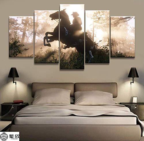 Red 5 Panels (JSBVM 5 Panel HD Drucken Red Dead Redemption 2 Die Holländer von Arthur Morgan Bilder Segeltuch Malerei Wandkunst Für das Wohnzimmer,A,20×35×2+20×45×2+20×55×1)