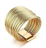 Beydodo Edelstahl Ringe für Frauen (Eheringe) Mehreren Kreisen Kreative Pave Breite 15mm Gold Größe 57 (18.1)