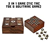 GLeo 2-in-1 Wooden Tic Tac Toe and Solitaire Travel Board Game Handmade Pegs