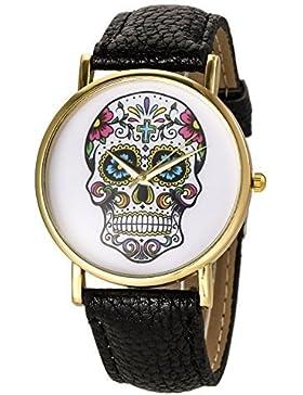 3DTrends Damen Armbanduhr Damen Totenkopf Lederarmband Mexiko Schädel Fashion Skull (Schwarz)
