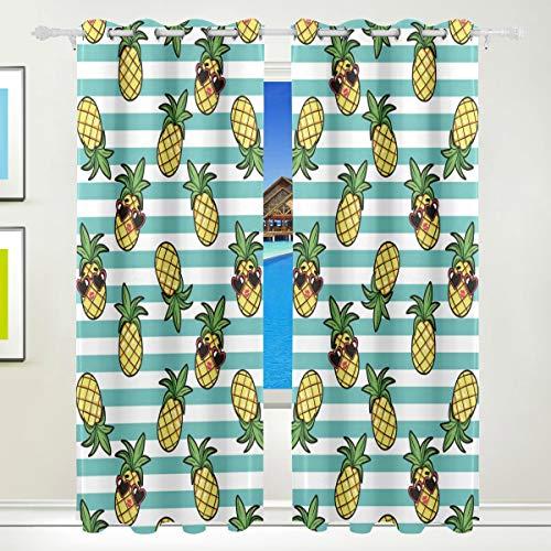 Ahomy Vorhänge mit Ananas- und Sonnenbrillen-Thermo-Isolierung, Ösenvorhang, für Wohnzimmer, Esszimmer, Schlafzimmer, 213,3 x 139,7 cm, 2 Stück
