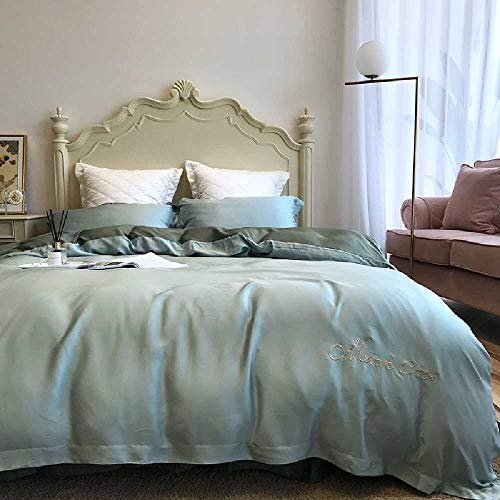 CHINCI GUO Tencel - Vier stücke einfarbig 80. Doppelseitige Sommer Bett aus Seide, bettwäsche einfach nackt Betten Decke Olive Blau und türkis - Echo Design-bettwäsche-bettdecken