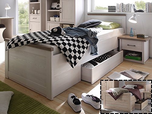 möbelando Bett Jugendbett Bettgestell Kompaktbett Bettrahmen Einzelbett Lebbie II